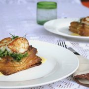Scallop and poached cod mille feuille