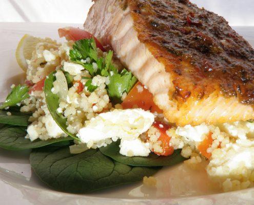 Moroccan salmon couscous