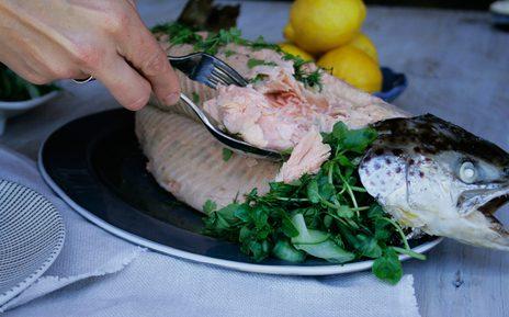 Whole baked salmon