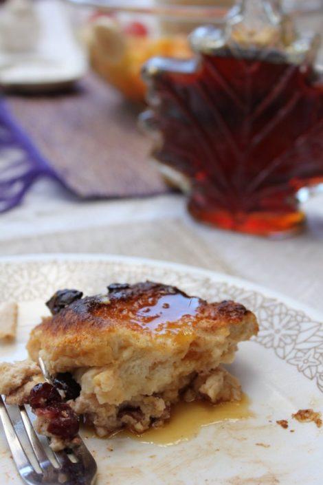 hot cross bun and cranberry pudding