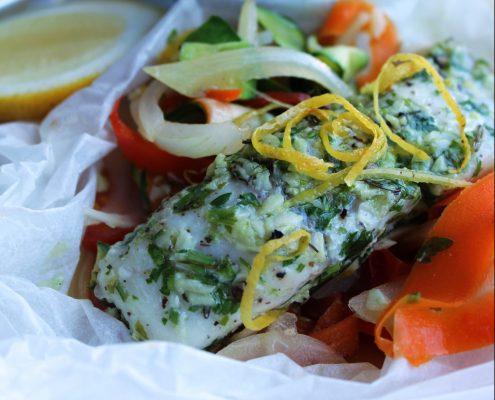 Steamed paper bag fish