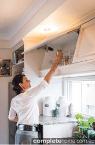 At home with Chef Dominique Rizzo - Dominique's overhead kitchen cupboards.