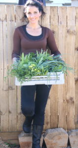 A sustainable kitchen garden Chef Dominique Rizzo - Dominique with freshly picked vegetables