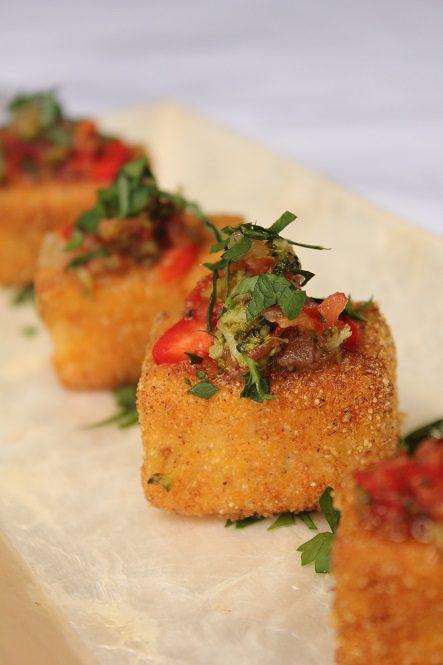 Dominique Rizzo - Crispy spiced polenta tofu with broccoli, basil, tomato and ginger salsa