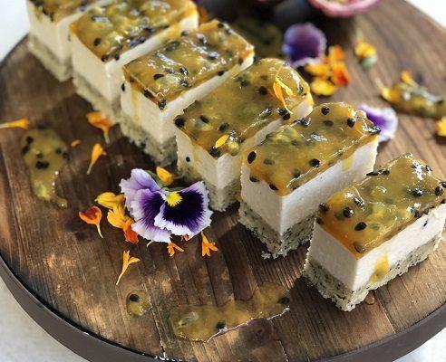 Vegan Passionfruit Cashew Chia Slice