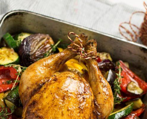 Roast Chicken with Mediterranean Vegetables